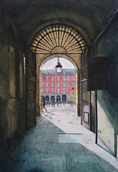 Entrada a la Plaza Mayor, Madrid|PinturadePedro Higueras| Compra arte en Flecha.es