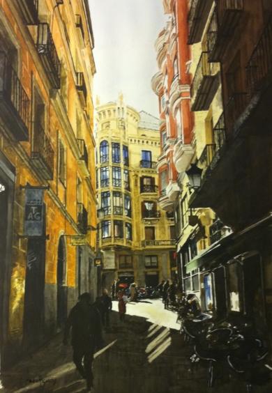 desde San Ginés a la calle Mayor, Madrid|PinturadePedro Higueras| Compra arte en Flecha.es