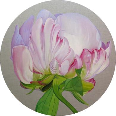Brote de peonía circular. Serie Lino|PinturadeCarmen Varela| Compra arte en Flecha.es