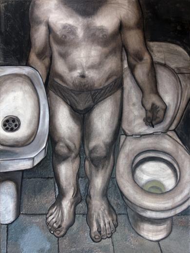Autorretrato en el váter 2|PinturadeFernando Charro| Compra arte en Flecha.es