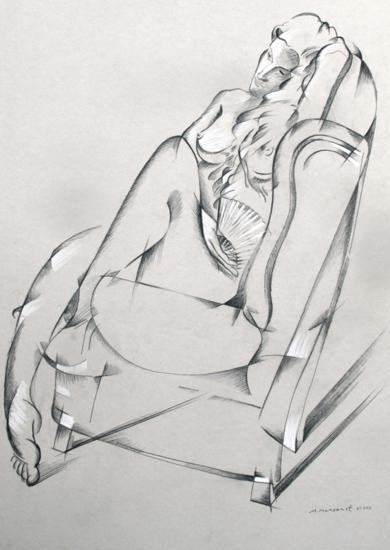 Mujer con abanico|DibujodeMiguel Mansanet| Compra arte en Flecha.es