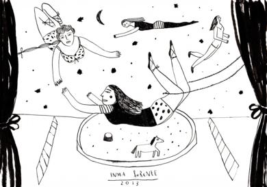 Trapecistas|DibujodeInma Lorente| Compra arte en Flecha.es