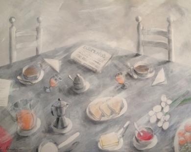 Desayuno mediterráneo|PinturadeLola Barcia Albacar| Compra arte en Flecha.es