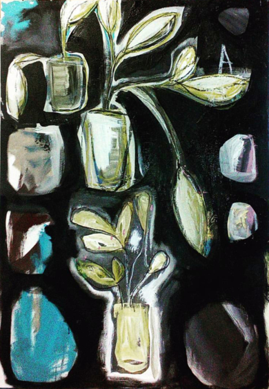 Plants living on black,|PinturadeAlmudena  Blanco| Compra arte en Flecha.es