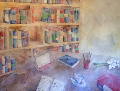 """Librería con té rojo""|PinturadeLola Barcia Albacar| Compra arte en Flecha.es"