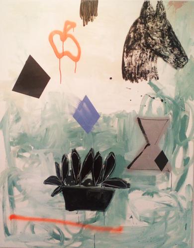 Horse and Other Things on Green|PinturadeAlmudena  Blanco| Compra arte en Flecha.es