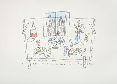 Tu, yo y la noche de postre|Obra gráficadeFernando Bellver| Compra arte en Flecha.es