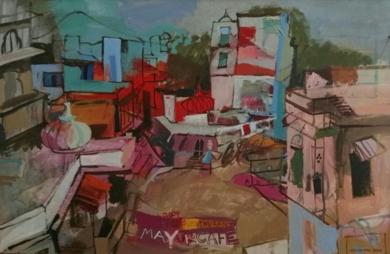 CRUCE EN UDAIPUR|PinturadeCarlota Rios| Compra arte en Flecha.es