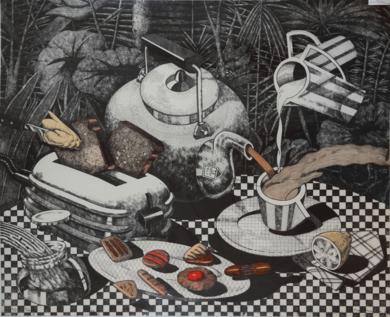 Serie desayunos: Alicia.|Obra gráficadeFernando Bellver| Compra arte en Flecha.es