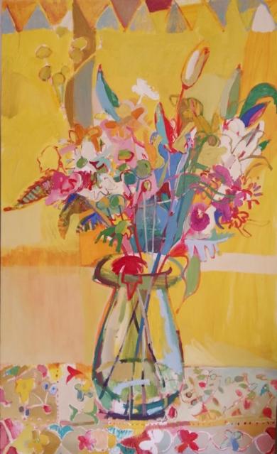 FLORES SOBRE TEJIDO|PinturadeCarlota Rios| Compra arte en Flecha.es