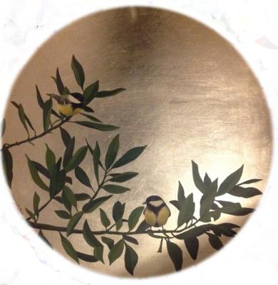 Dos pájaros-redondo|PinturadeCharlotte Adde| Compra arte en Flecha.es