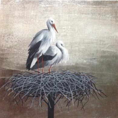 Miniatura con cigüeñas PinturadeCharlotte Adde  Compra arte en Flecha.es