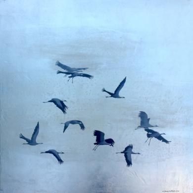 Garzas en vuelo PinturadeCharlotte Adde  Compra arte en Flecha.es