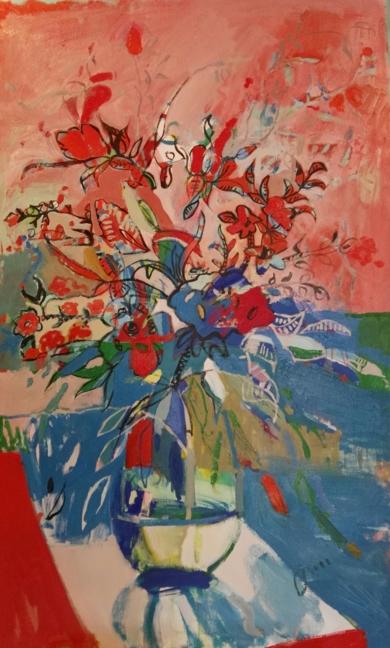 FLORES SOBRE TEJIDO II|PinturadeCarlota Rios| Compra arte en Flecha.es