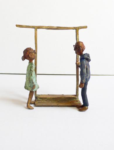 Encuentro en la puerta de la óptica|EsculturadeAna Valenciano| Compra arte en Flecha.es