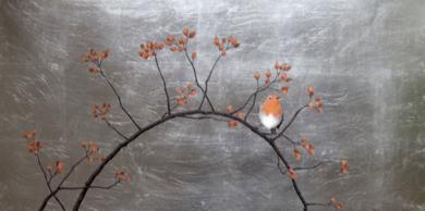 Petirrojo y escaramujo|PinturadeCharlotte Adde| Compra arte en Flecha.es