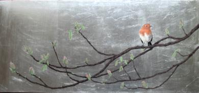 Petirrojo y castaño de Indias I|PinturadeCharlotte Adde| Compra arte en Flecha.es