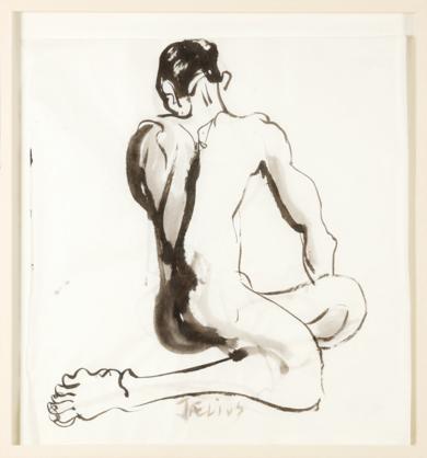 Torsión de Espaldas|DibujodeJaelius Aguirre| Compra arte en Flecha.es