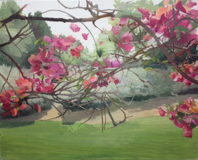 Buganvilla con paisaje al fondo|PinturadeAntonio Barahona| Compra arte en Flecha.es