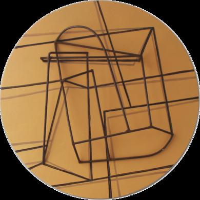 Constalación sobre naranja|Escultura de pareddeManuel Sánchez-Algora| Compra arte en Flecha.es