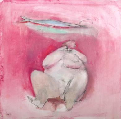 Mujer obesa y pez|DibujodeÁlvaro Marzán| Compra arte en Flecha.es