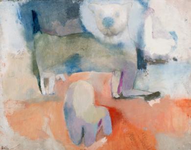 Oso de peluche, silla y gato|DibujodeÁlvaro Marzán| Compra arte en Flecha.es