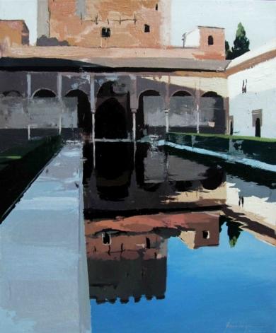 Luces y sombras en el patio de los Arrayanes|PinturadeGonzalo Rodríguez| Compra arte en Flecha.es