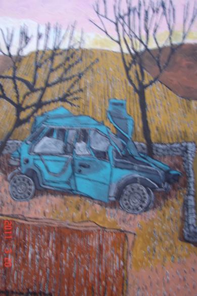 Paisaje con coche|Dibujodede la Concepción Torreira| Compra arte en Flecha.es