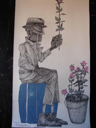 Hombre con flores|Dibujodede la Concepción Torreira| Compra arte en Flecha.es