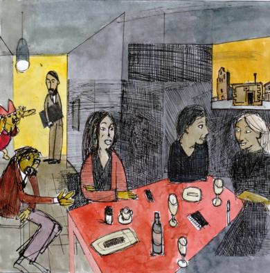 Degas et le dernier repas|CollagedeEugenio Vega| Compra arte en Flecha.es