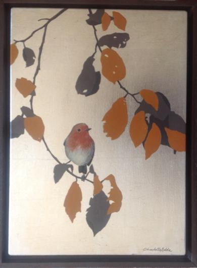 Petirrojo y hojas naranjas PinturadeCharlotte Adde  Compra arte en Flecha.es