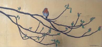 Petirrojo sobre dorado|PinturadeCharlotte Adde| Compra arte en Flecha.es