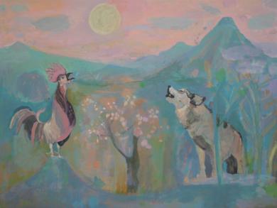 El lobo y el gallo cantan a la luz de la luna|IlustracióndeIria| Compra arte en Flecha.es