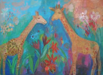 Jirafas enamoradas|IlustracióndeIria| Compra arte en Flecha.es