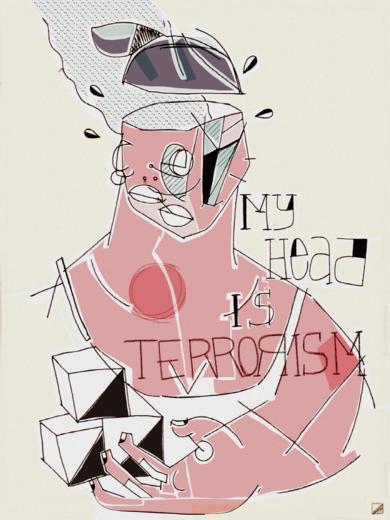 My head is terrorism|DibujodeMikel Benok| Compra arte en Flecha.es