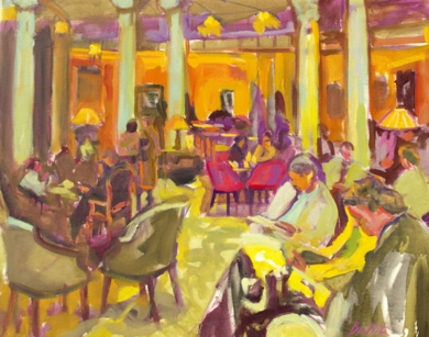 Leyendo en el hotel|DibujodeJosé Bautista| Compra arte en Flecha.es