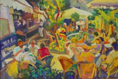 Café alrededor de la fuente|DibujodeJosé Bautista| Compra arte en Flecha.es
