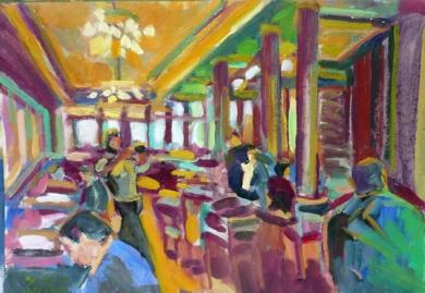 Café el Comercio|PinturadeJosé Bautista| Compra arte en Flecha.es