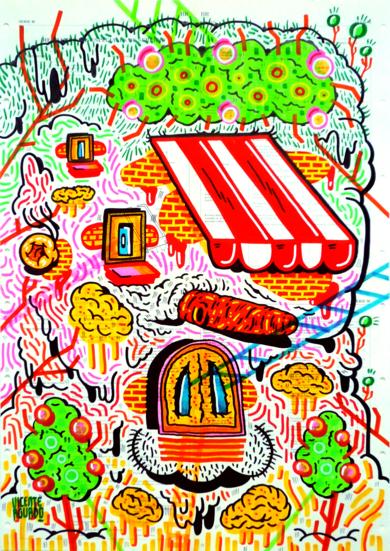 NIGHTMARE HOUSE TREE|DibujodeVicente Aguado| Compra arte en Flecha.es