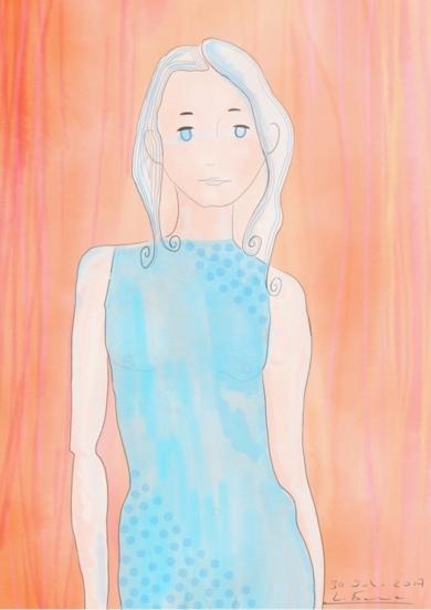 Traje azul|DibujodeLola Barcia Albacar| Compra arte en Flecha.es