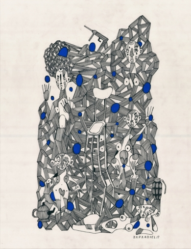 Conexiones programadas|DibujodeLucas Zapardiel| Compra arte en Flecha.es