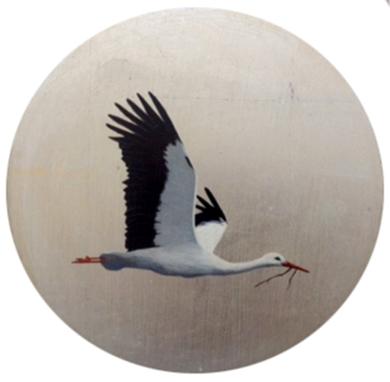 Cigüeña pequeño redondo 3|PinturadeCharlotte Adde| Compra arte en Flecha.es