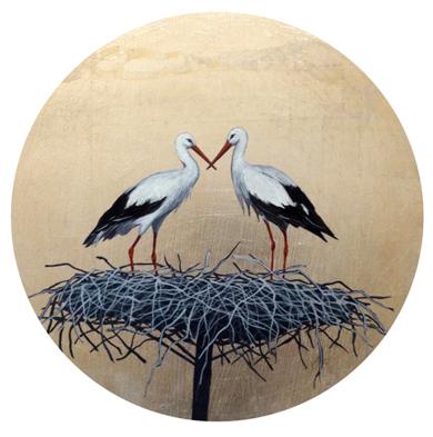 Cigüeñas redondo pequeño 6|PinturadeCharlotte Adde| Compra arte en Flecha.es