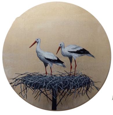 Cigüeñas redondo pequeño 4|PinturadeCharlotte Adde| Compra arte en Flecha.es