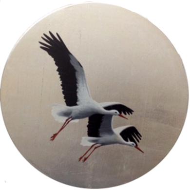 Cigüeñas pequeño redondo 2|PinturadeCharlotte Adde| Compra arte en Flecha.es