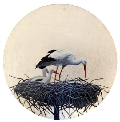 Cigüeñas redondo pequeño 5|PinturadeCharlotte Adde| Compra arte en Flecha.es