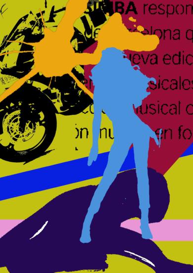 Motera Azul|Obra gráficadeandrock| Compra arte en Flecha.es