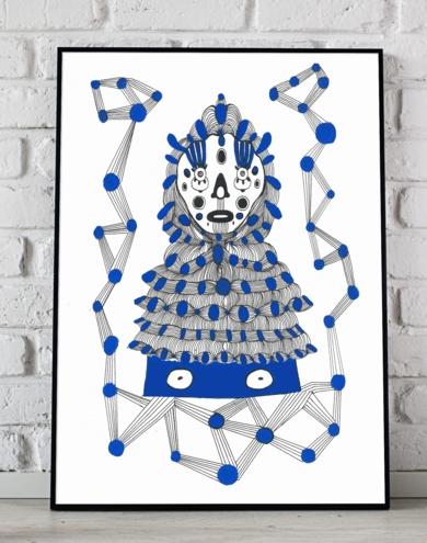 Retrato con traje azul|IlustracióndeLucas Zapardiel| Compra arte en Flecha.es