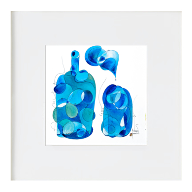 Got i ampolla blau - Vaso y botella azul|Ilustraciónderichard martin| Compra arte en Flecha.es