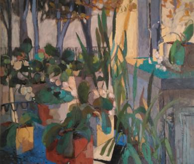 Terraza y orquídeas|PinturadeCarolina Veramendi B| Compra arte en Flecha.es